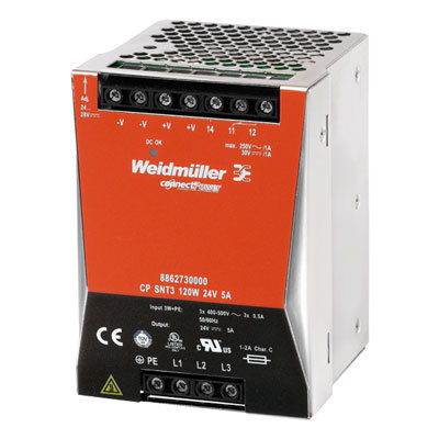 Bộ nguồn Weidmuller, Weidmuller Power Three-Phase Power Supply CP SNT3 120W 24V 5A ,8862730000